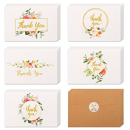 40 Floral & Gold Thank You Cards | Thank You Notes Bulk Box Set with Kraft Envelopes & Stickers | Large 4 x 6