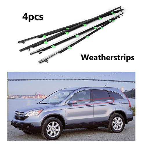 MotorFansClub 4PCS Weatherstrip Window Seal for Honda CR-V CRV 2007 2008 2009 2010 2011, Car Window Moulding Trim Seal Chrome Door Outside Belt