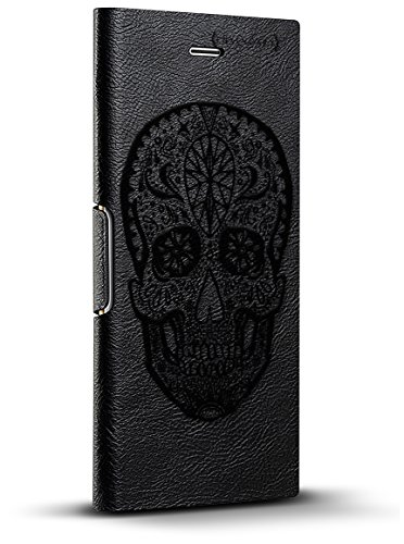 Luxendary Mexican Native Tribal Skull Design IPhone X Leather Wallet Case - Hickory Black (Skull Leather Tribal)