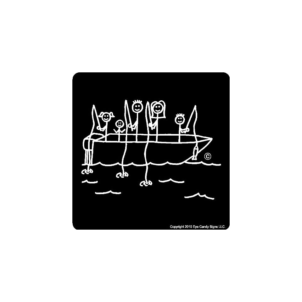 Canoe Stick People Family Car Decals Stickers Graphics Item #6