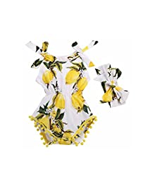 Canis Newborn Kids Baby Girls Lemon Floral Print Romper Jumpsuit with Headband