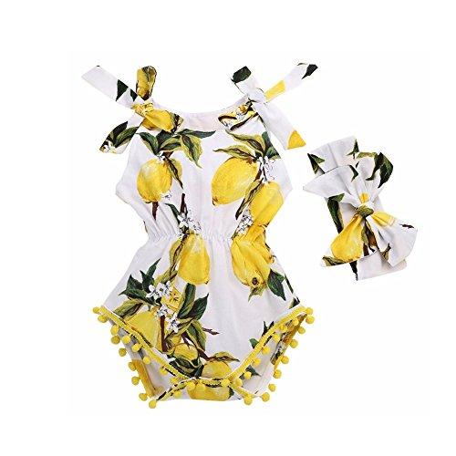 Canis Newborn Kids Baby Girls Lemon Floral Print Romper Jumpsuit with Headband (18-24 Months)