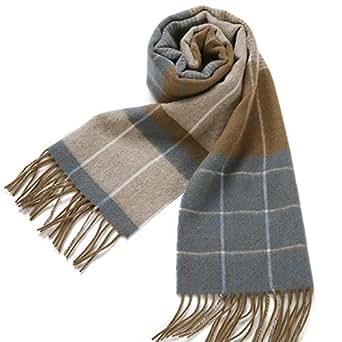 Erigaray 100% Wool Mens Scarf Plaid Winter Warm Fashion