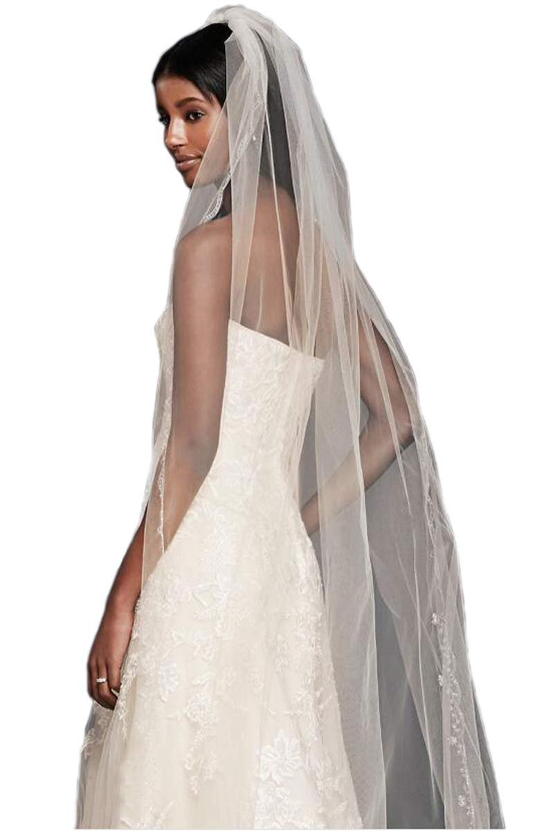 Passat Ivory 2 Tiers 2M crystal veil with Scallop Edge bling Wedding veil 224