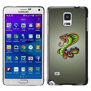 Be Good Phone Accessory // Dura Cáscara cubierta Protectora Caso Carcasa Funda de Protección para Samsung Galaxy Note 4 SM-N910 // King Cobra Snake