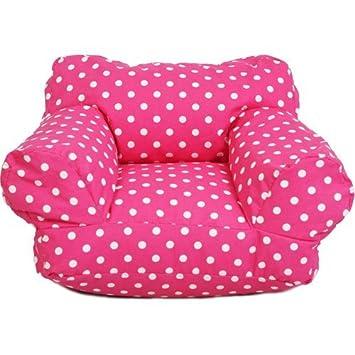 Great Mi Kid\u0027s Twill Bean Bag Chair, Candy Pink Polka