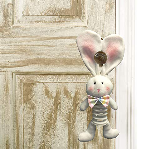 ARJ Sales Springy Plush Easter Bunny Door Hanger, Spring Decorations, Fabric, 2 1/2
