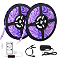 LaluceNatz 33ft/10m LED UV Black Light Strip with Remote Control,36W 600 Units UV Lamp Beads 12V Flexible Blacklight Fixtures for Stage Lighting Dance Party,Body Paint and UV Lighting.