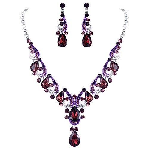 EVER FAITH Crystal Gorgeous Wedding Wave Teardrop Necklace Earrings Set for Bride Purple Silver-Tone