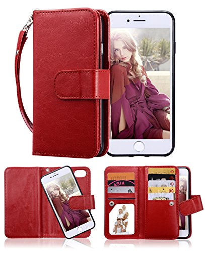 iPhone 8 Case, iPhone 7 Wallet Case, Crosspace Premium PU Leather Flip Wallet Case 2-in-1 Protective Magnetic Shell with Credit Card Holder and Wrist Lanyard for Apple iPhone 8 4.7