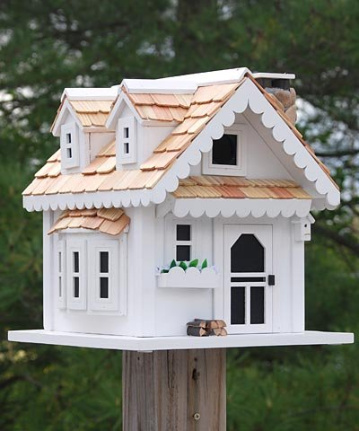 Home Bazaar Tranquility Birdhouse, White/Natural