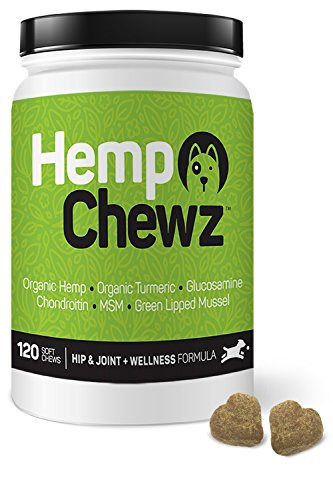 Hemp Chewz Hip & Joint Supplement for Dogs - 100% Organic Hemp Oil and Hemp Powder for Joint Pain Relief & Mobility Support + Glucosamine, Chondroitin, Organic Turmeric, and MSM - 120 Treats ()