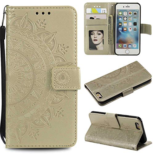 Case iPhone X/Xs, Bear Village PU Leather Embossed Design Case with Card Holder and ID Slot, Wallet Flip Stand Cover for Apple iPhone X/iPhone Xs (#8 Gold)