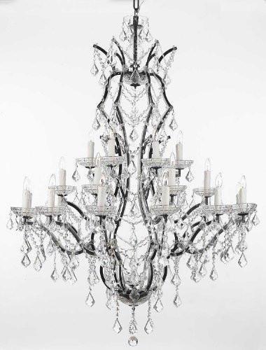 19th C. Rococo Iron & Crystal Chandelier Lighting H 52″ x W 41″
