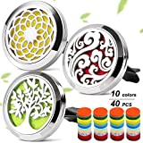 3 PCS Car Aromatherapy Essential Oil Diffuser Vent Clip Stainless Steel Magnetic Closure Locket with 40 Refill Pads
