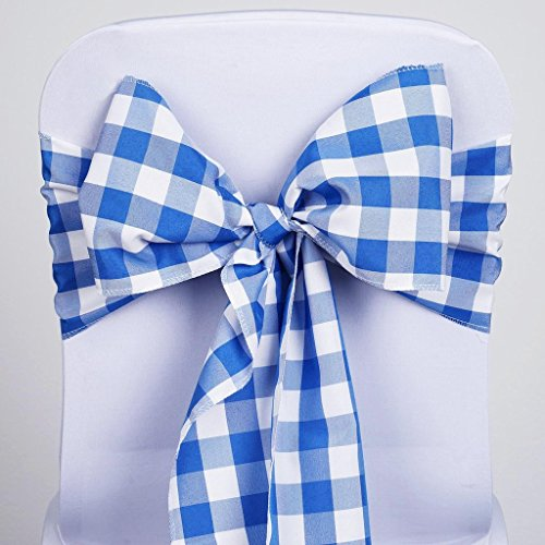 Efavormart 5 PCS Royal Blue/White Gingham Polyester Chair Sash Bowtie for Wedding Events Chair Bow Sash Party Decoration Supplies from Efavormart.com
