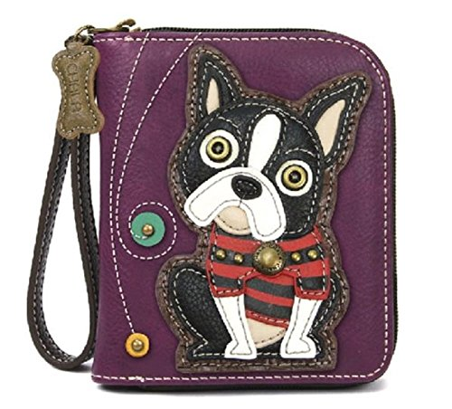 Chala Zip Around Wallet, Wristlet, 8 Credit Card Slots, Sturdy Pu Leather, Boston Terrier- Purple