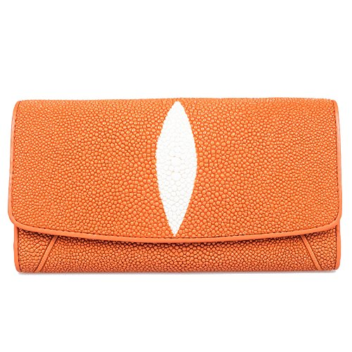 Genuine Stingray Skin Leather Orange Trifold Zip Window ID Purse Wallet Clutch by Kanthima