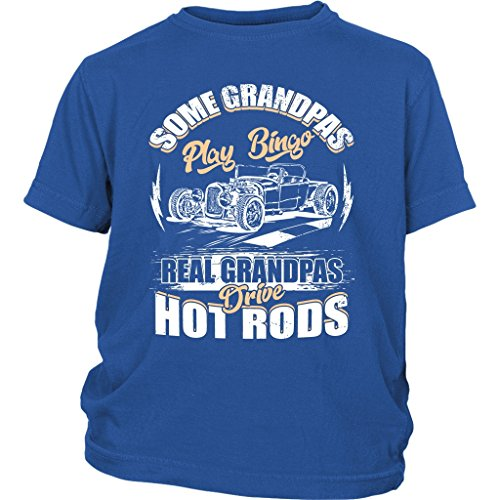 (Grandpas Drive Hot Rods Baby Bodysuit, My Hot Rods T Shirt (XS, Youth Tee - Blue))