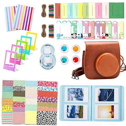 Leebotree Camera Accessories Compatible with Instax Mini 9 or Mini 8 8+ Include Case/Album/Selfie Lens/Filters/Wall Hang Frames/Film Frames/Border Stickers/Corner Stickers (Brown)