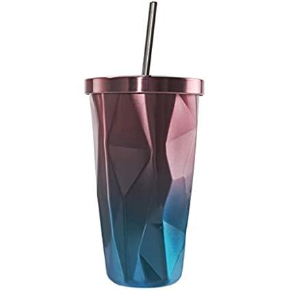 59a6d794cf8 Stainless Steel Tumbler with Straw - Wim Double Wall Hot and Cold Drinking  Cups Coffee Mugs 16oz Irregular Diamond with Lid