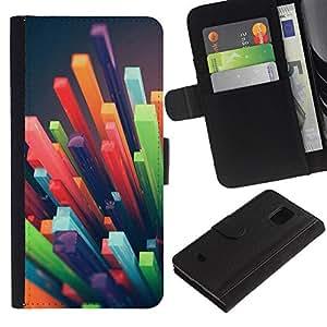Be Good Phone Accessory // Caso del tirón Billetera de Cuero Titular de la tarjeta Carcasa Funda de Protección para Samsung Galaxy S5 Mini, SM-G800, NOT S5 REGULAR! // polygon straw 3d abstract art plastic