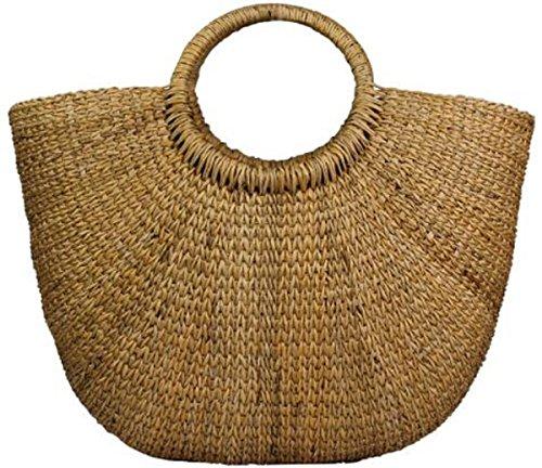 Lush Leather Handmade Natural Woven Straw Beach Rattan Cabana Basket Tote Bag