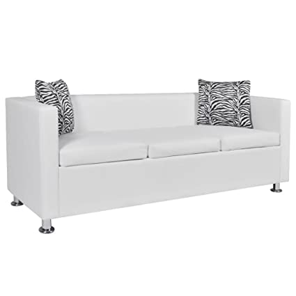 Amazon.com: Festnight 3 Seater Sofa Faux Leather Upholstery ...