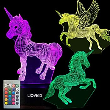 3PCS 3D Unicorn Night Light--3D Unicorn Lamp 3 Pattern 7 Colors Changing Decor Lamp with Remote Control for Kids Illusion Bedside Lamps Ideal Gifts for Girls and Unicorn Lovers