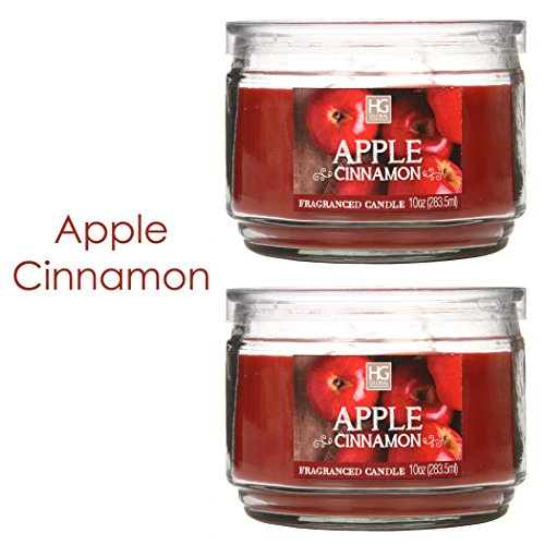 Apple Cinnamon Votive - Hosley Set of 2 Apple Cinnamon Highly Scented, 2 Wick, 10 Oz Wax, Jar Candle. Ideal Aromatherapy Votive GIFT for Party Favor, Bridal, Wedding Spa Reiki, Meditation, Bathroom Settings O9