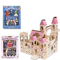 Castillo de princesa plegable de madera de Melissa y Doug Deluxe con familia de madera real y juego de muñecas de castillo de lujo