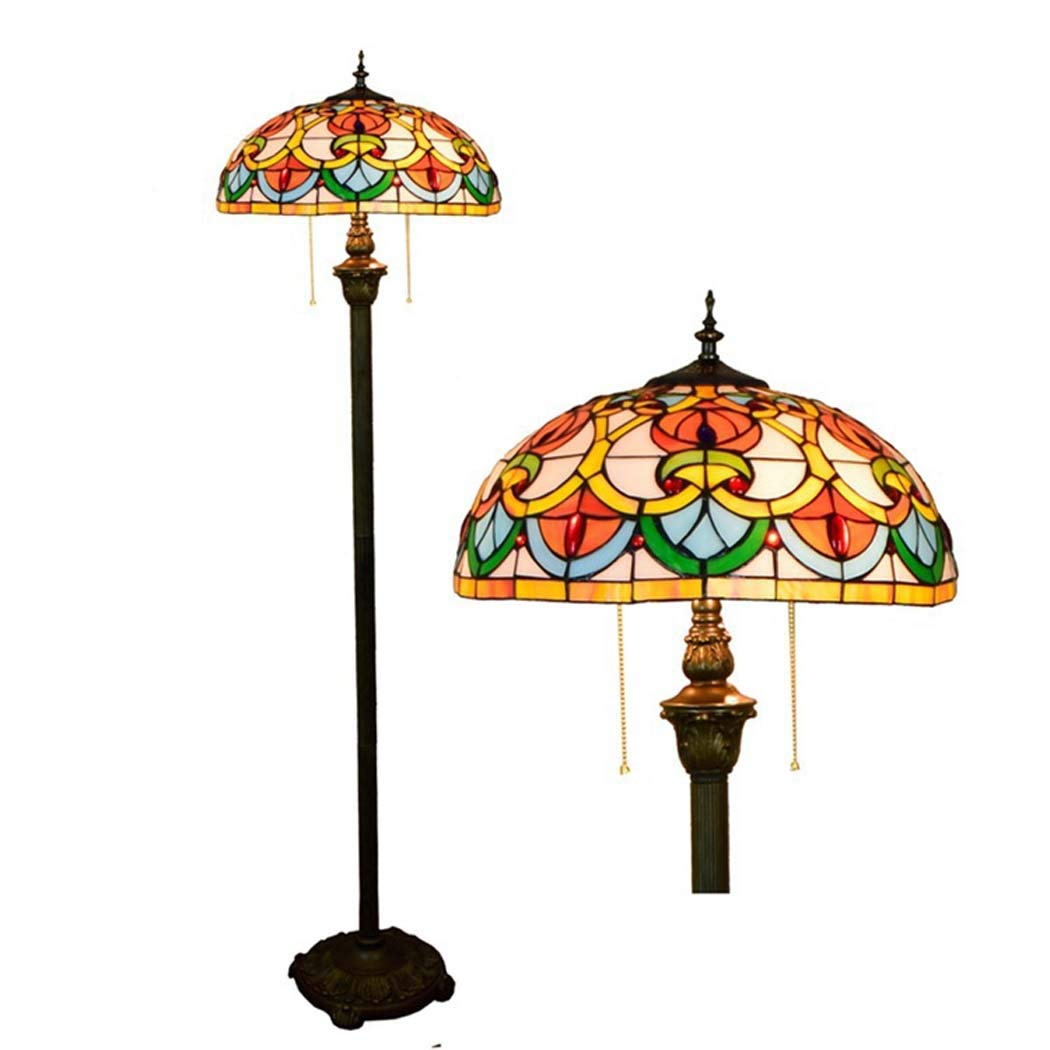 DSHBB Floor Lights, 16 inch Tiffany Style Floor lamp with Stained Glass lampshade and Pull Switch, Standing Light for Living Rooms,bar,Bedrooms, E272 40W