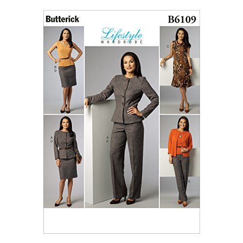Butterick Patterns B6109 Misses' Jacket, Top, Dress, Skirt and Pants, Size E5