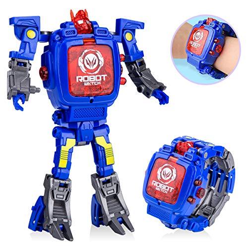 Toy Robot Watch,Children's Toy 2-in-1 Deformation Watch Toy Watch Robot, Educational Toy Game Watch, School Toy Gift. (Blue)