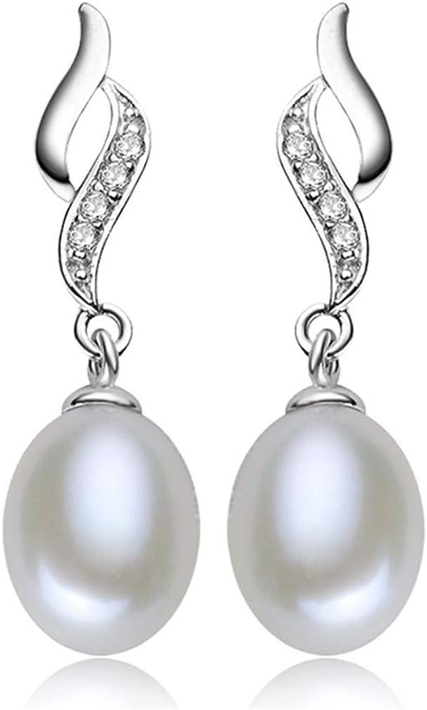 Pendientes perlas mujer plata de ley 925 de cristal de circonita pendientes largos con colgantes en 9mm perla natural de agua dulce joyería de moda regalos para mujeres y niñas