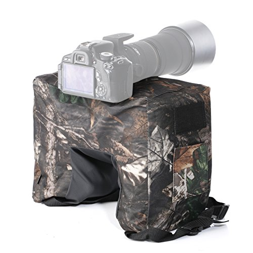 Movo Photo THB02 Camouflage Camera Lens Bean Bag with Head Mounting Plate - Mossy Oak (Fullsize)