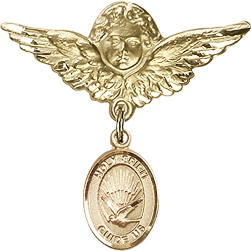 14kt Yellow Gold Baby Badge with Holy Spirit Charm and Angel w/Wings Badge Pin 1 1/8 X 1 1/8 inches by Unknown