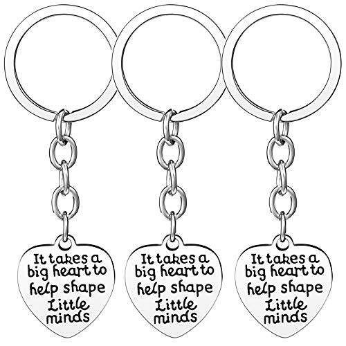 Nzztont Pack of 3 Teacher Bangles Gifts for Teacher Open School Gifts for Teachers Thank You Bangle Bracelets (3PCs Keychain Heart Style 18- It Takes A Big Heart to Help Shape Little Minds) (Gift Keychain Heart)