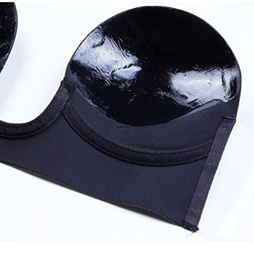 Senza One Binhee Cuciture Silicone Invisible Piece Deep Gather U Nero Invisibile Reggiseno AwwEFB