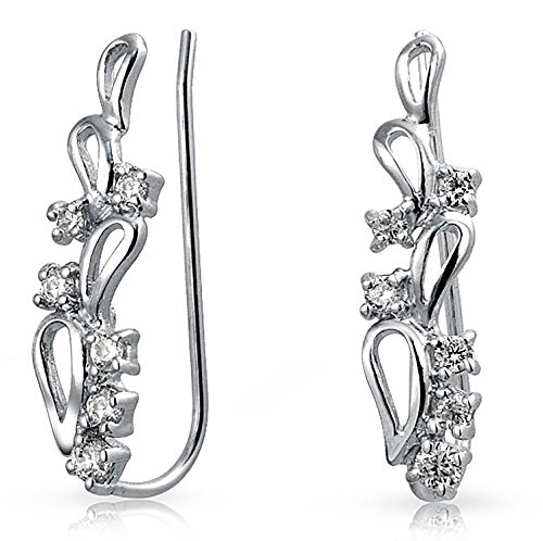 CZ Swirl Wire Ear Pin Climbers Crawlers Earrings For Women For Teen Round Cubic Zirconia 925 Sterling Silver