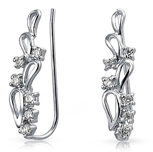 (Sterling Silver Modern Teardrop CZ Ear Pin Climbers Rhodium Plated)