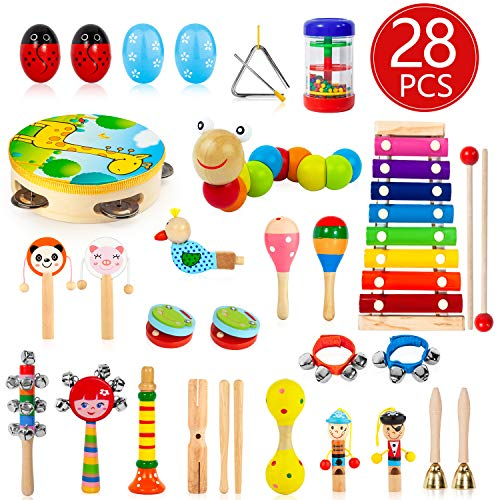 AOKIWO Kids Musical Instruments, 28Pcs 19Types Wooden Instruments Tambourine Xylophone Toys for Kids Children, Preschool Educational Learning Musical Toys for Boys Girls (Toddler Toys Instruments)
