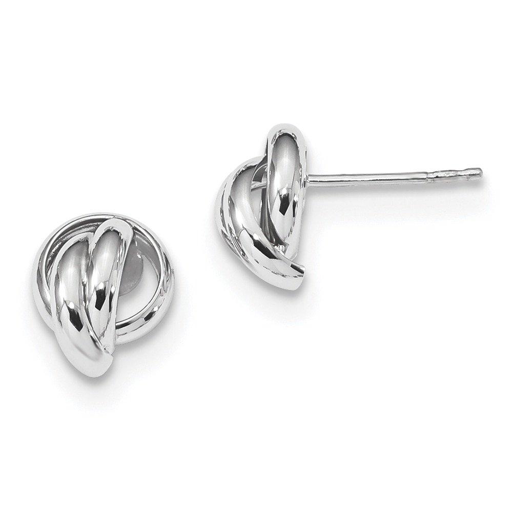 Lex /& Lu 14k White Gold Polished Love Knot Post Earrings LAL119195