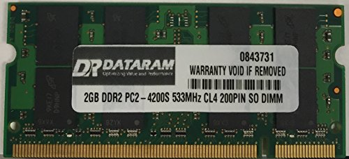 2GB DATARAM DDR2 PC2-4200 PC2-4300 CL4 1.8V 2RX8 200 PIN SO DIMM MEMORY RAM