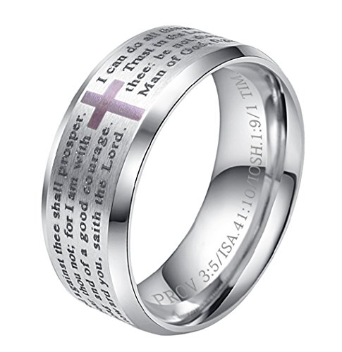 ALEXTINA Men's Stainless Steel Bible Verse Christian Lord's Prayer Cross Ring Wedding Band Silver Size (Cross Stainless Steel Wedding Bands)