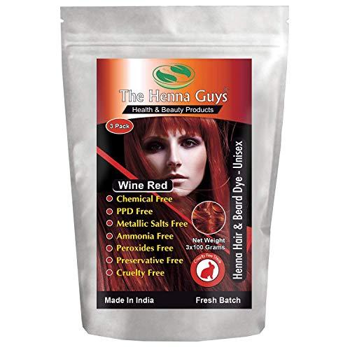 Wine Red Henna Hair & Beard Dye/Color - 3 Pack - The Henna Guys