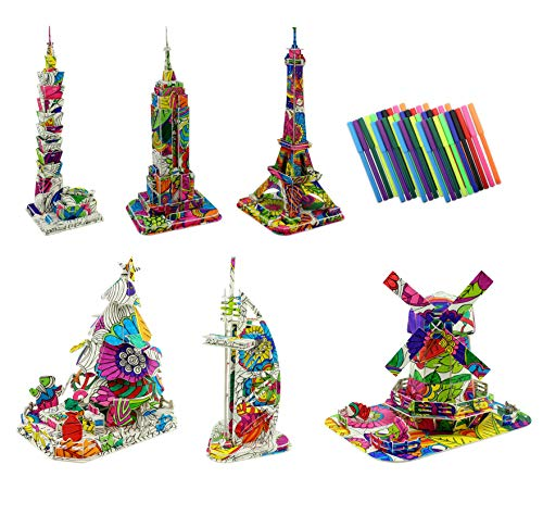 3D Coloring Puzzle Set, 6 DIY Models with 40 Markers