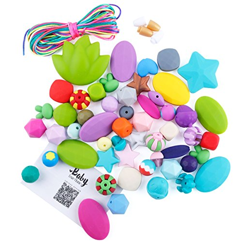 Baby love home 50pcs Original Silicone Chew Bead Crafting Set Assorted Colors Shape&Sizes,Includes Nylon Rope & Clasps,DIY Teether Necklaces and Bracelets Starter Kit Baby Jewelry DIY Kit