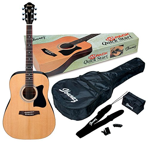 (Ibanez 6 String Acoustic Guitar Pack, Ambidextrous, Natural Gloss (IJV50))