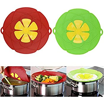 OYSIR 2Pcs Spill Stopper Lid Cover,Boil Over Safeguard,Silicone Spill Stopper Pot Pan Lid Multi-Function Cooking Tool,Kitchen Gadgets, for Cooking Lover,Parents,Friends, Green& Red
